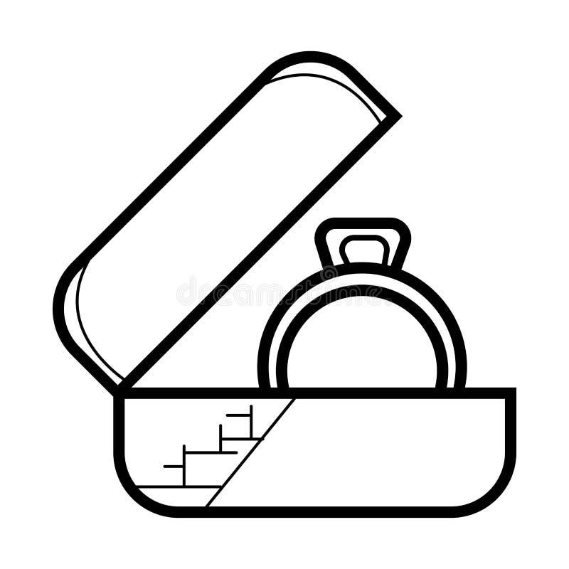 Fedi nuziali in un contenitore di regalo illustrazione vettoriale