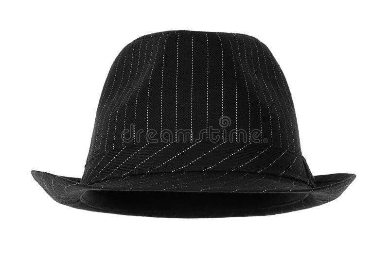Fedora. Black fedora hat isolated on white royalty free stock image