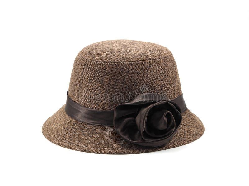 Fedora felt hat on white background. Brown fedora felt hat on white background royalty free stock photos
