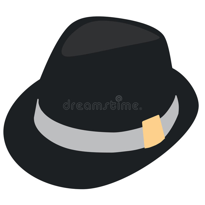Fedora hat. Black elegant man hat. Derby hat. Fedora hat. Trilby hat stock illustration