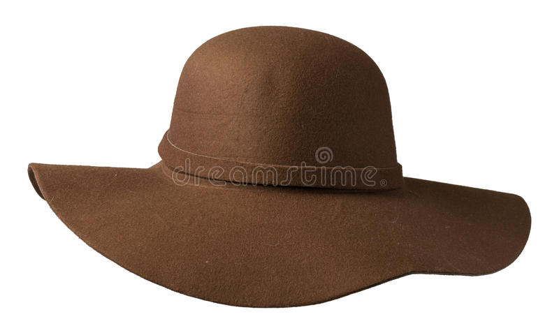Fedora hat. hat isolated on white background .brown hat royalty free stock image