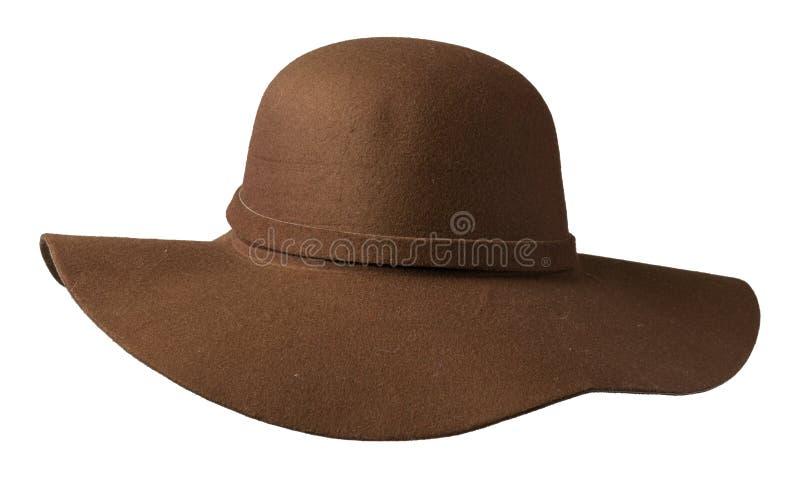 Fedora Hat isolerad white för bakgrund hatt Brun hatt royaltyfri bild