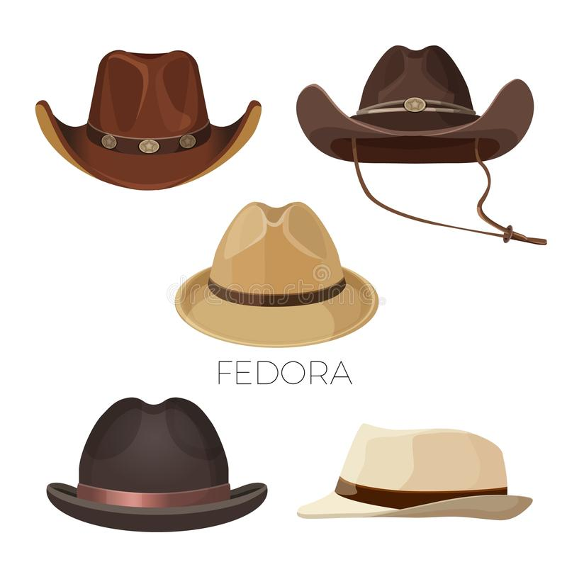 Fedora und Cowboyhüte des braunen und beige Farbsatzes lizenzfreie abbildung