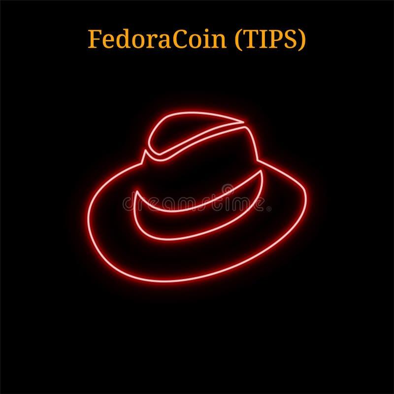 FedoraCoin de néon vermelho DERRUBA o símbolo do cryptocurrency ilustração royalty free