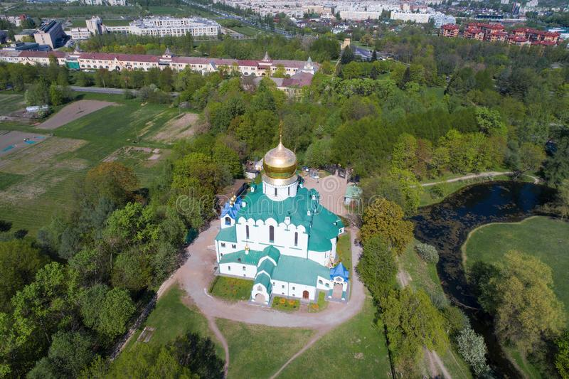 Fedorovsky Cathedral in the cityscape aerial photography. Tsarskoye Selo stock photo