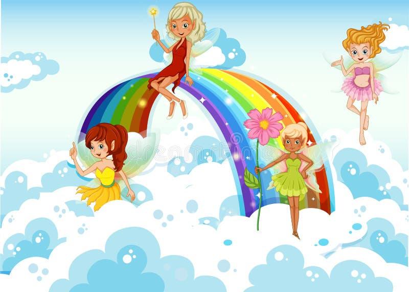 Feeën boven de hemel dichtbij de regenboog vector illustratie