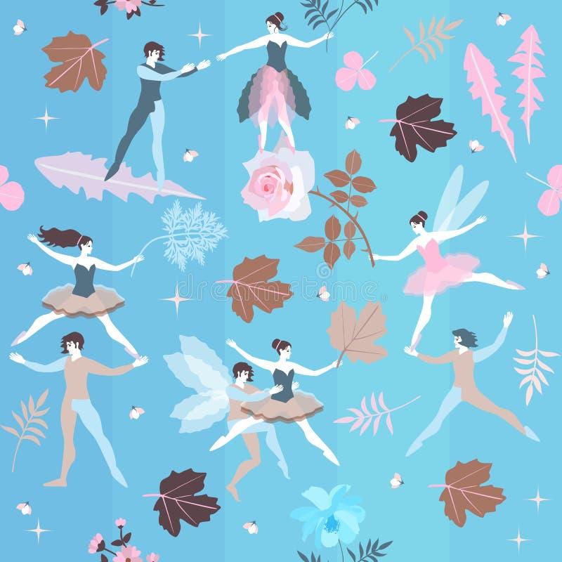 Feeën en elfdans in blauwe hemel onder bloeiende bloemen Magisch ballet in de lentetuin Vector illustratie royalty-vrije illustratie