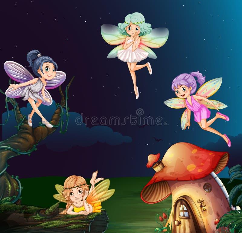 Fee bij paddestoelhuis bij nacht stock illustratie