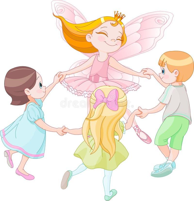 Fee die met kinderen dansen stock illustratie