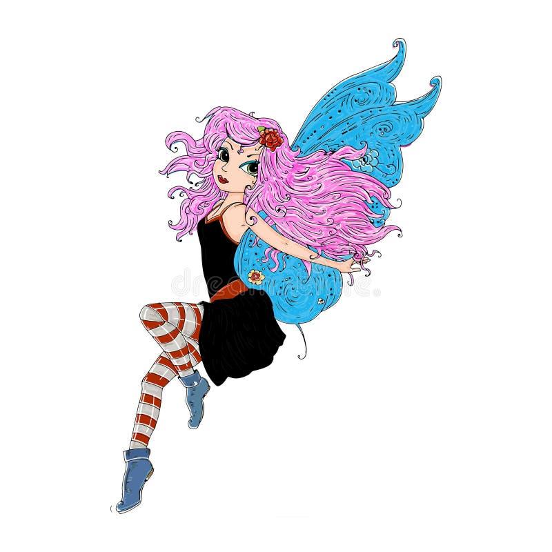 Fee, die mit schwarzem Kleid und rosa den Haarfabeln fliegt, die für Bücher veranschaulicht werden vektor abbildung