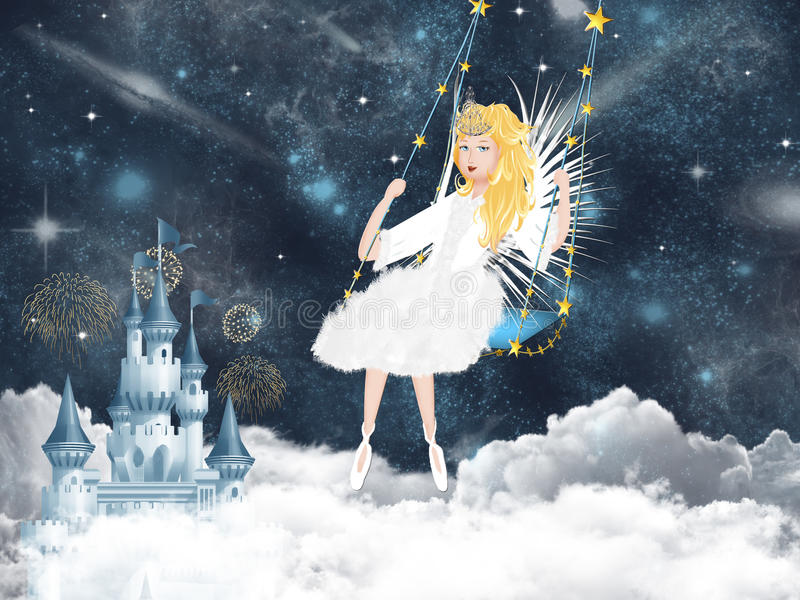 Fee, fantasy world. Illustration of fantasy world with fee vector illustration