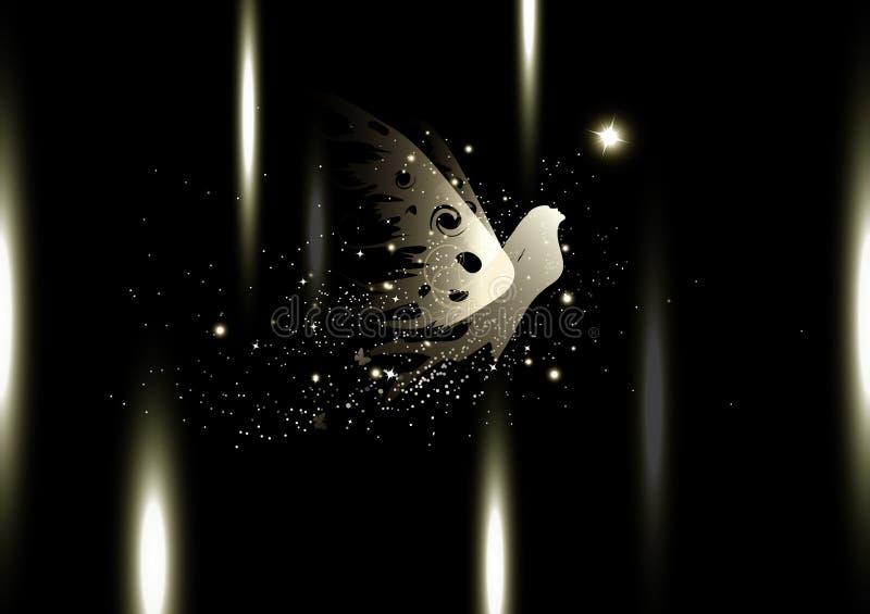 Fee, gouden fantasiemirakel, de lichte stralen van de sterrenfonkeling, beschermerluxe, abstracte achtergrond seizoengebonden vak vector illustratie
