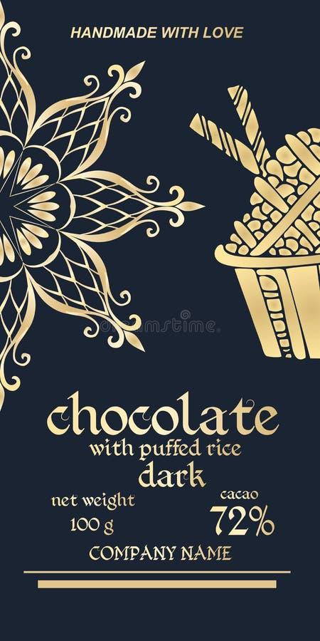 Fee gouden verpakkingsontwerp van chocoladerepen Gemakkelijk editable verpakkend malplaatje De helft van sneeuwvlok of mandala -  royalty-vrije illustratie