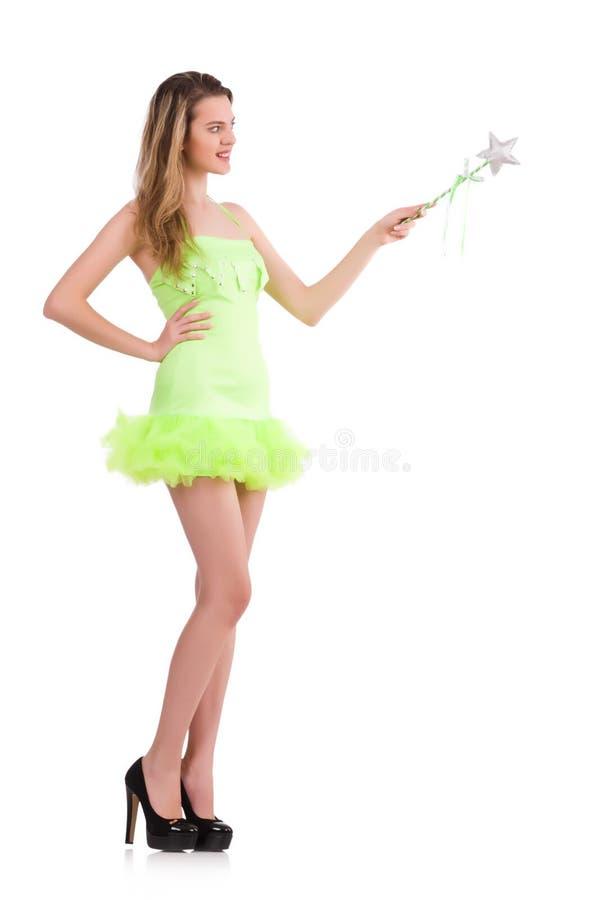 Fee im hellen reizend Kleid lokalisiert auf Weiß stockfotografie