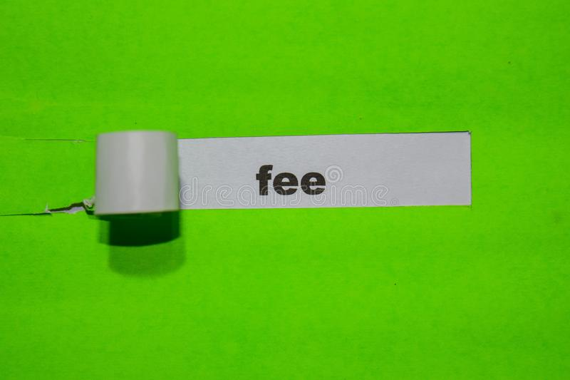 Fee, Inspiration and business concept on green torn paper stock photos