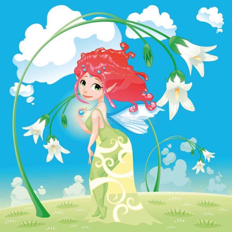 Fee met bloemen royalty-vrije illustratie