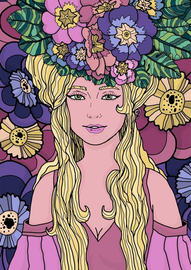 Fee mit dem langen Haar im eleganten Kleid umgeben mit Primel f stock abbildung
