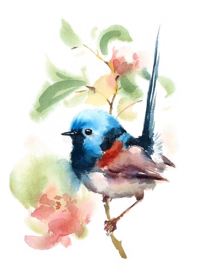 Fee Wren Bird op de tak met Geschilderd die de Illustratiehand van de Bloemenwaterverf op witte achtergrond wordt geïsoleerd royalty-vrije illustratie