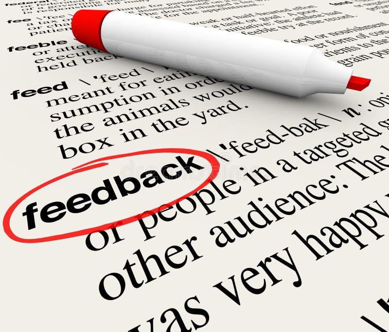 Feed-back eingekreistes Wort-Definitions-Verzeichnis lizenzfreie abbildung