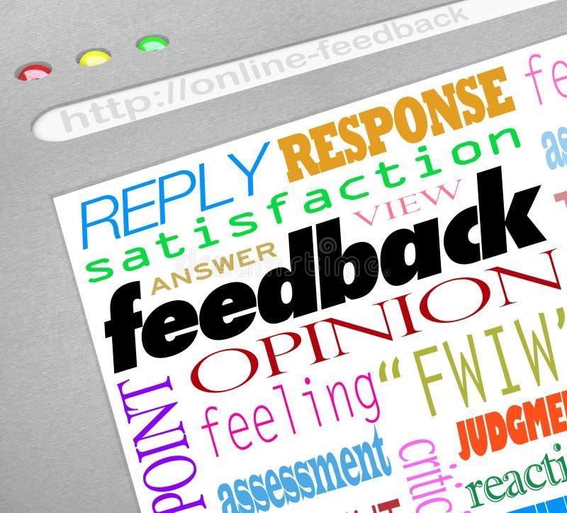 Feed-back-on-line-Übersicht beantwortet Meinungen lizenzfreie abbildung
