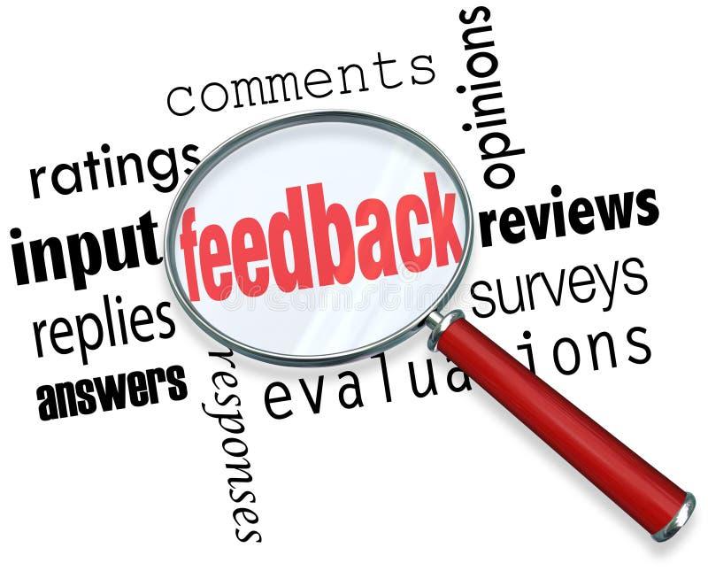 Feed-back-Lupen-Input-Kommentar-Bewertungs-Berichte vektor abbildung