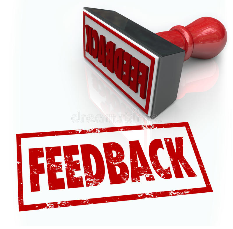 Feed-back-Stempel-Wort-Zustimmungs-Meinungs-Kommentar-Bericht vektor abbildung