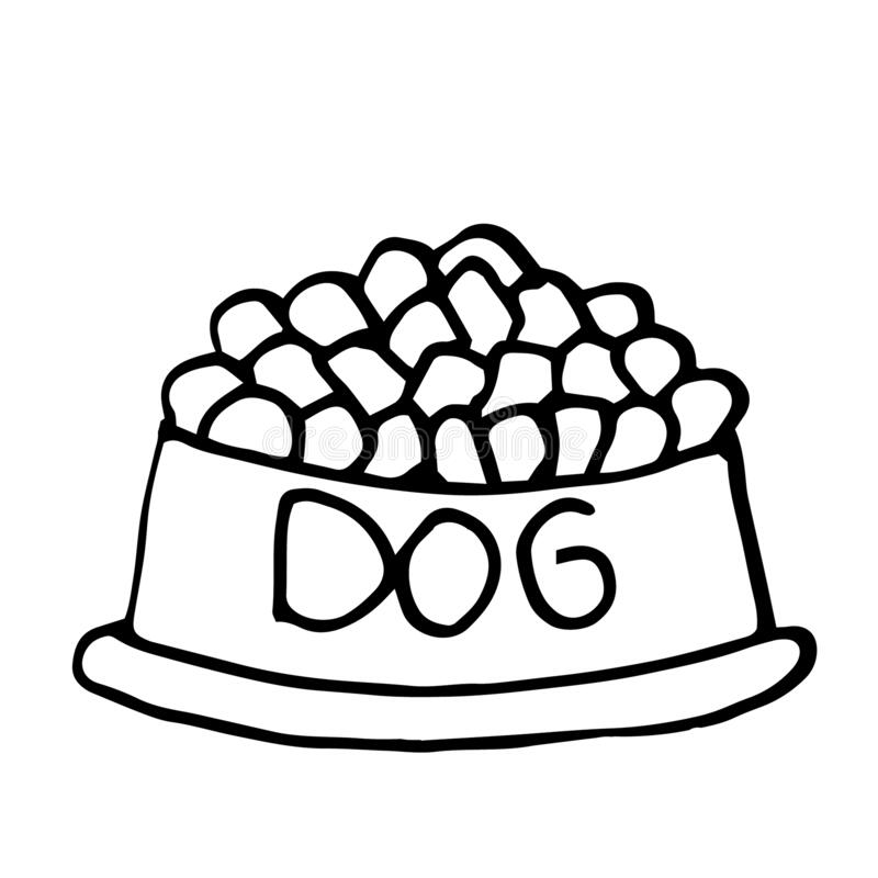 Feed for dogs in the bowl. Simple line vector illustrations. Feed for dogs in the bowl. Simple line hand drawn vector illustrations in doodle style. Decorations vector illustration