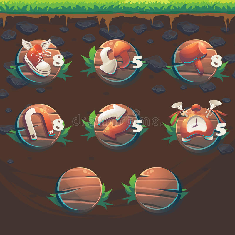 Feed the fox GUI match 3 game user interface boosters. Cartoon stylized vector illustration window vector illustration