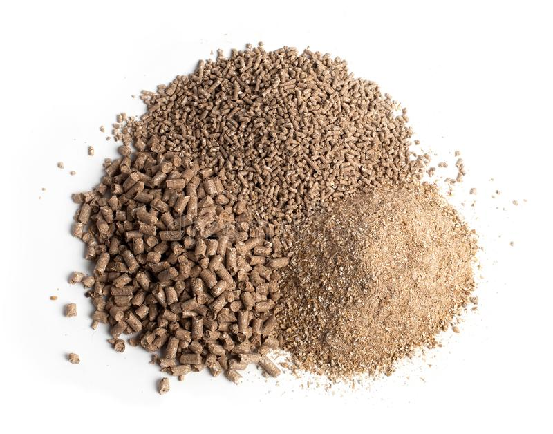 Feed for livestock. Three kinds of pellets. Agricultural preparations, dry food, cereals, additives stock photo
