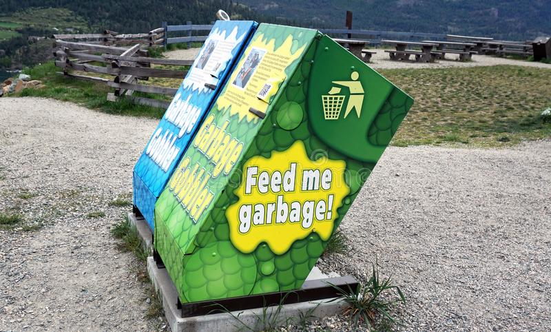Feed Me Garbage Cans royalty free stock image