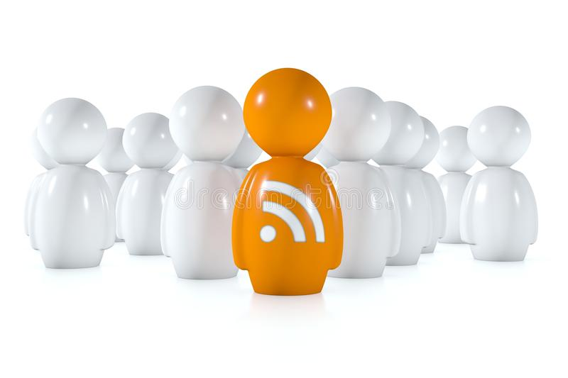 Download Feed Readers Follow An Orange Human With Rss Logo Stock Illustration - Image: 21856748