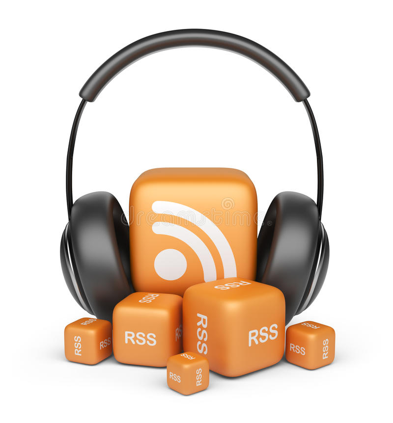 Feed of rss audio news. 3D icon royalty free illustration