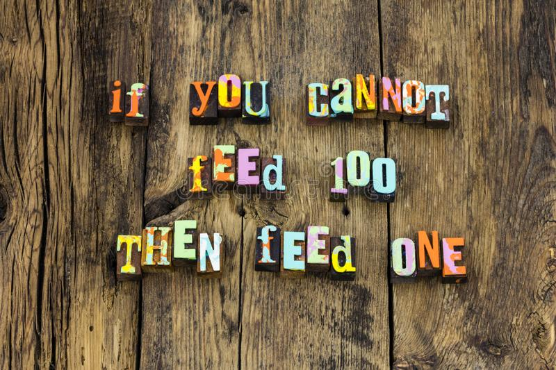 Feed share food caring help homeless typography stock photo