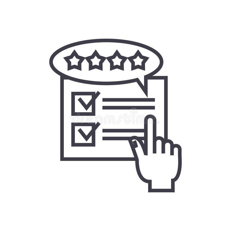 Feedback, Bericht, veranschlagender Konzeptvektor zeichnen dünn Ikone lizenzfreie abbildung