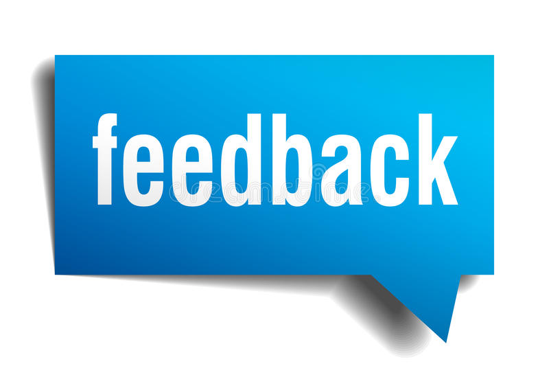 Feedback blue 3d realistic paper speech bubble. Isolated on white stock illustration