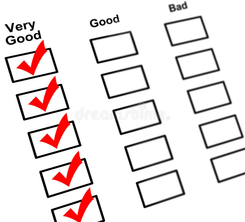 Feedback check boxes stock images