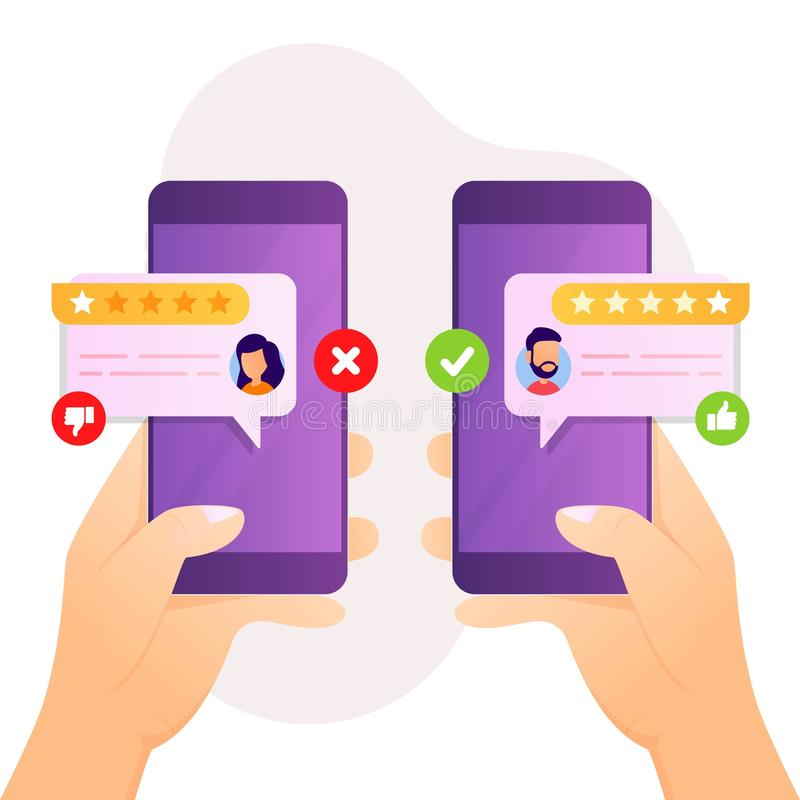 User experience give feedback with like dislike message speech bubble. Vector illustration user experience giving feedback concept with star, comment and thumbs stock illustration