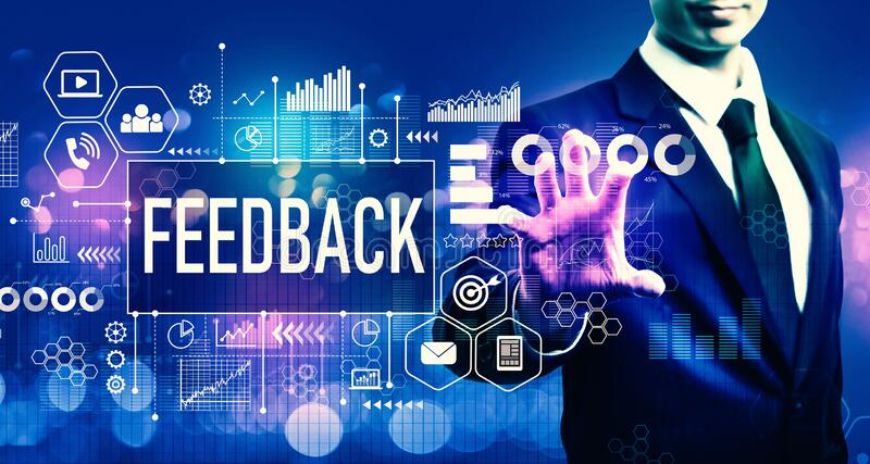 Feedback concept with businessman royalty free stock images