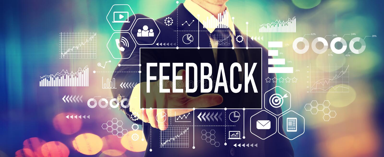 Feedback concept with a businessman royalty free stock photo