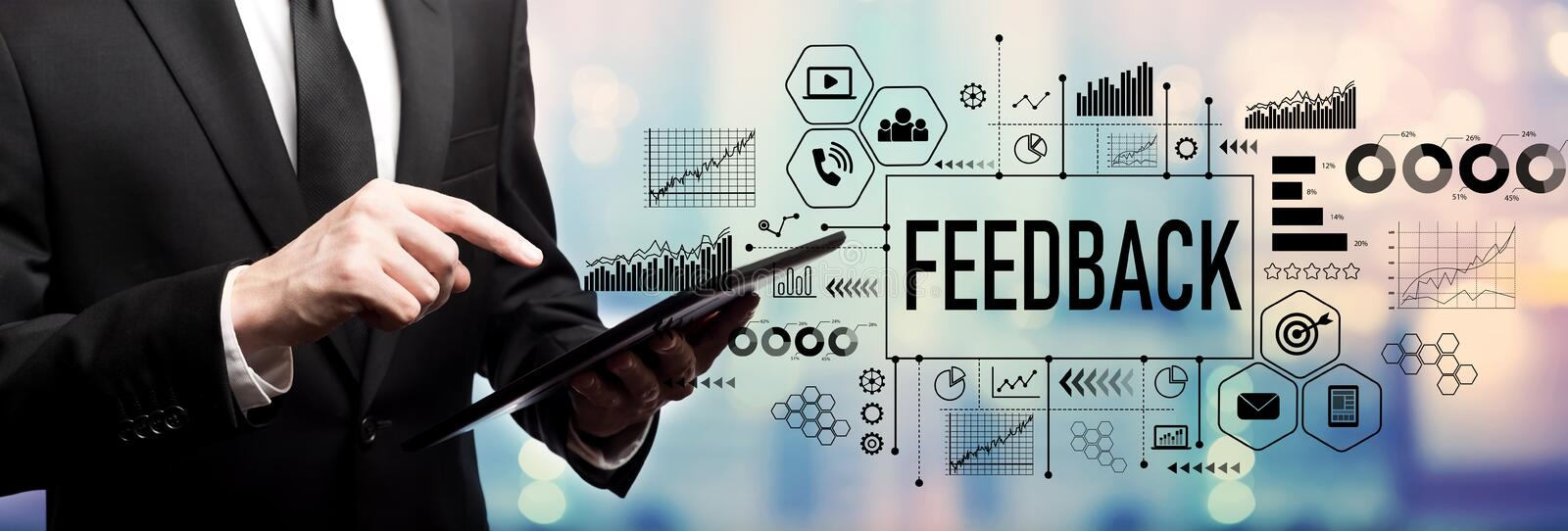 Feedback concept with businessman royalty free stock photos