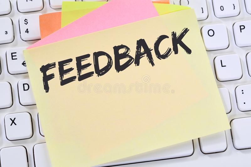 Feedback contact customer service opinion survey business review stock photo