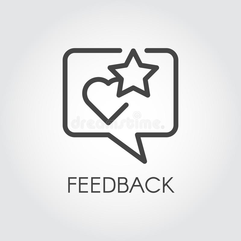 Feedback contour icon. Quote text bubble with star and heart rating symbols. Review and assessment of user concept. Line pictogram for mobile apps, websites stock illustration