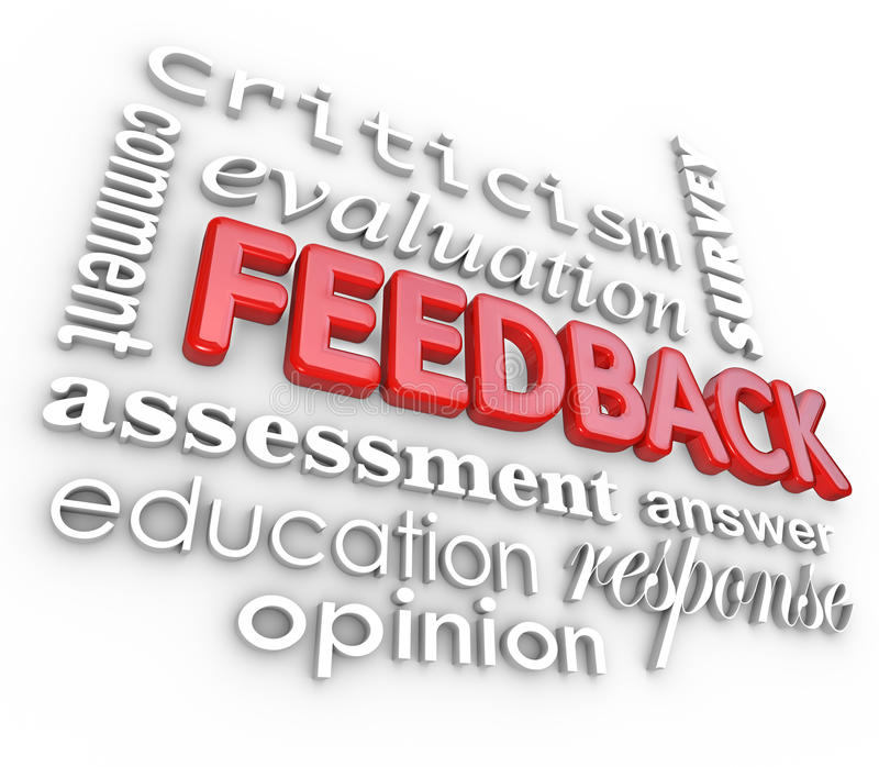 Feedback 3D Word Collage Evaluation Comment Review. A 3d word collage focused on the word Feedback and other terms like assessment, evaluation, comment, response royalty free illustration