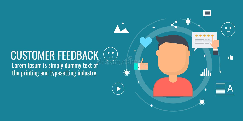 Feedback de la clientèle, commentaires en ligne, expérience de client, client heureux, concept d'évaluation Bannière plate de vec illustration libre de droits