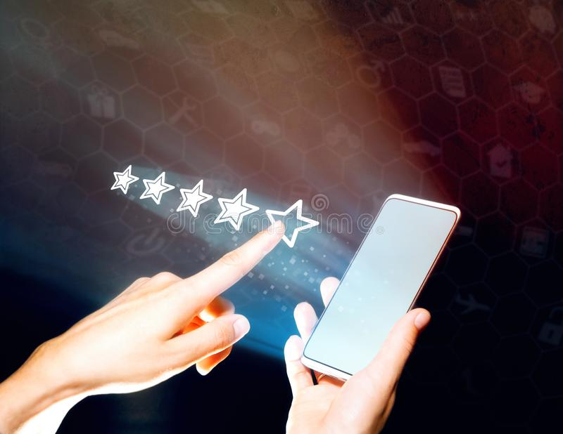 Feedback des utilisateurs, appréciation de la qualité, estimations de produit et service images libres de droits
