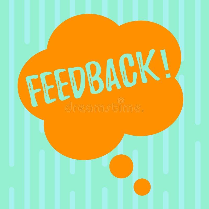 Feedback do texto da escrita da palavra O conceito do negócio para a avaliação da reação da opinião da revisão do cliente dá uma  ilustração do vetor