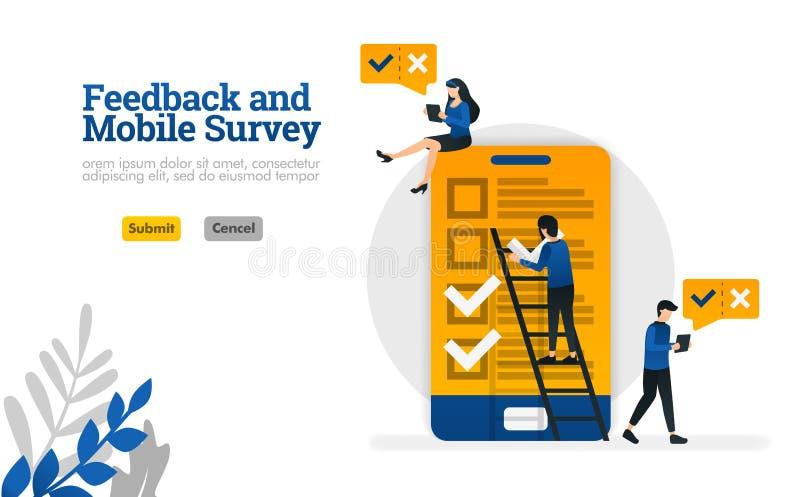 Feedback e avaliação do móbil para a avaliação precisa o conceito da ilustração do vetor pode ser uso para, página de aterrissage ilustração stock