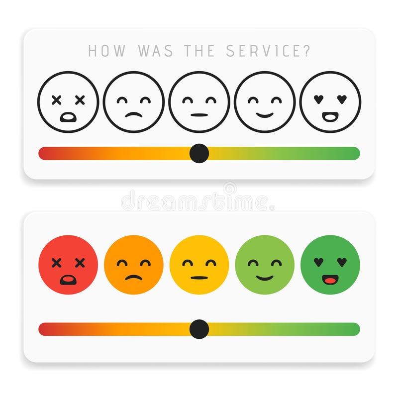 Feedback emoticon flat design icon set. Customer rating satisfaction meter with different emotions. Excellent, good, normal, bad vector illustration