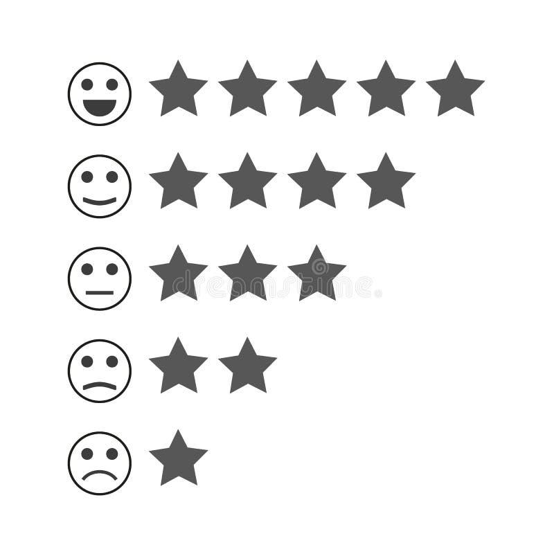Feedback Emoticon Rang oder Niveau der Zufriedenheits-Bewertung Bericht in der Form von Gefühlen, smiley, emoji vektor abbildung