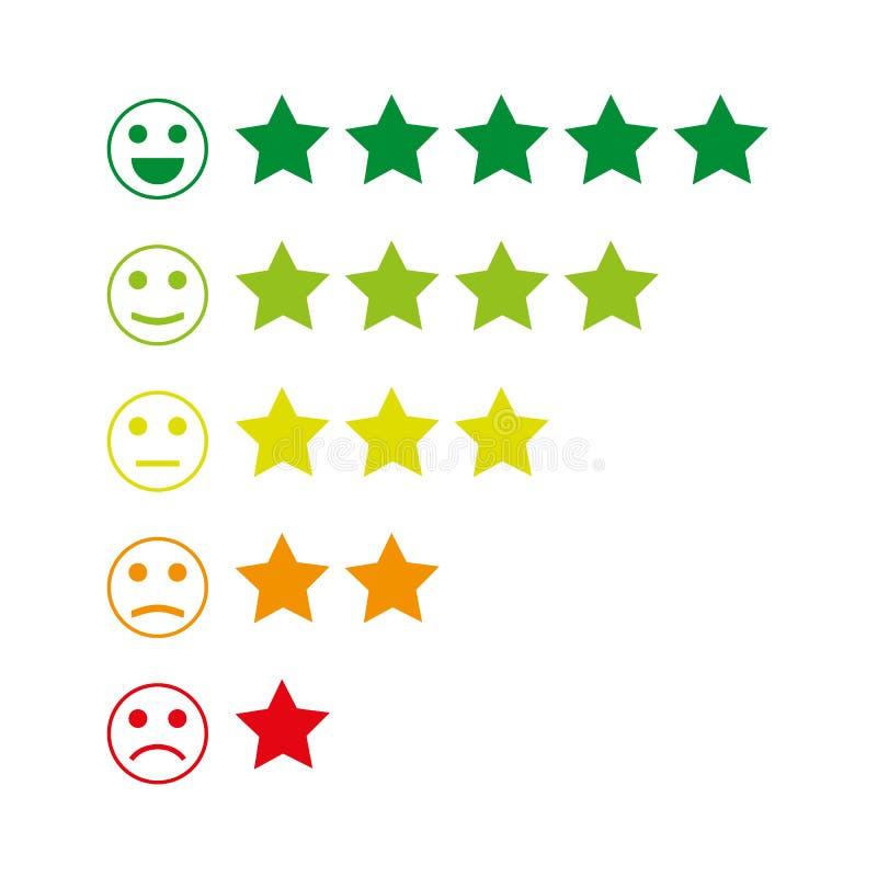 Feedback Emoticon Rang oder Niveau der Zufriedenheits-Bewertung Bericht in der Form von Gefühlen, smiley, emoji Viele Farben lizenzfreie abbildung